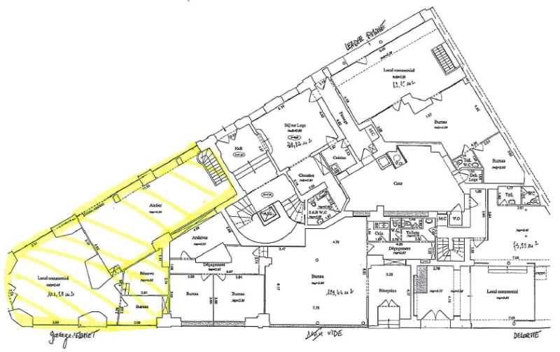 Location vente locaux commerciaux paris 75017 163m2 for Locaux commerciaux atypiques paris